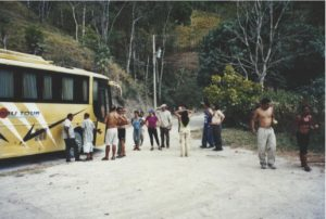 The bus breaks down after the race