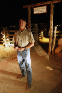 Race director Don Mann stands in front of the gate to host resort Red Cliff Lodge