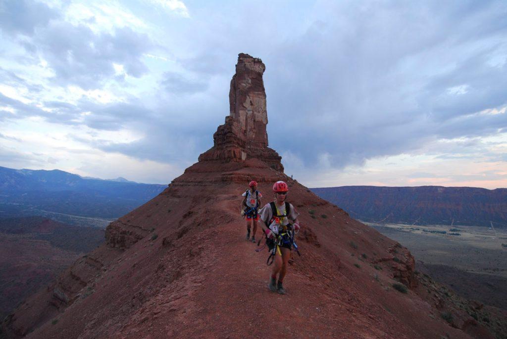 Team trekking on ridge between Priest and Nuns rock formation