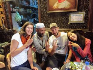 Matt, Tammy and Robyn pose with a local in a Hookah bar in Cairo