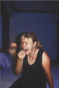 Anna eating fried locusts