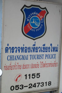 Chiang Mai tourist police headquarters sign